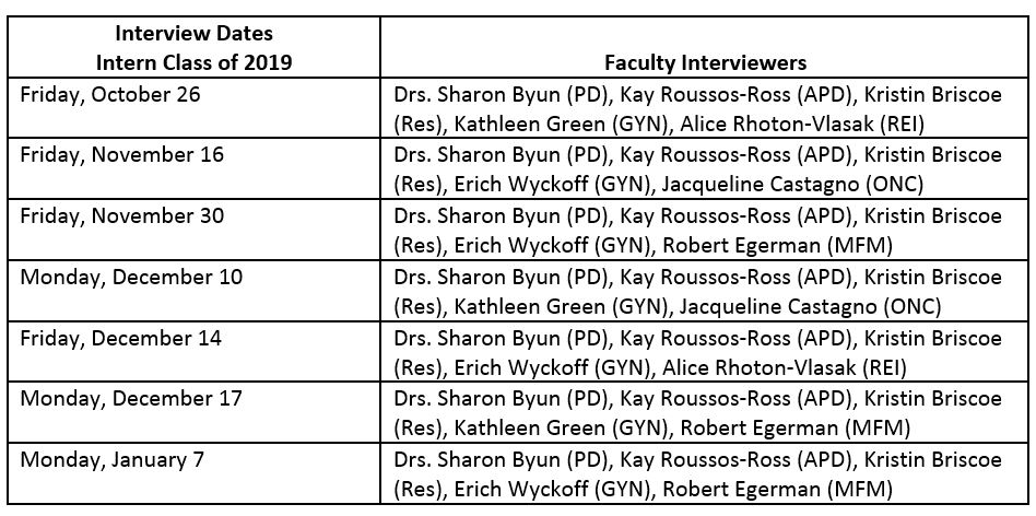 interview dates